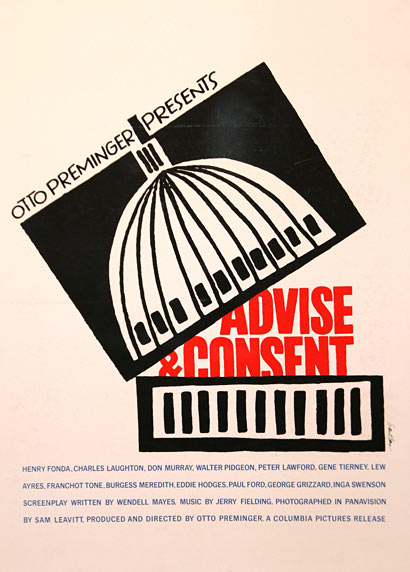 Saul Bass, Advice & Consent, Poster, 1962