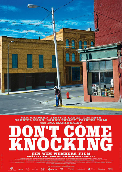 Film poster for Don't Come Knocking by Wim Wenders, designed by Darius Ghanai